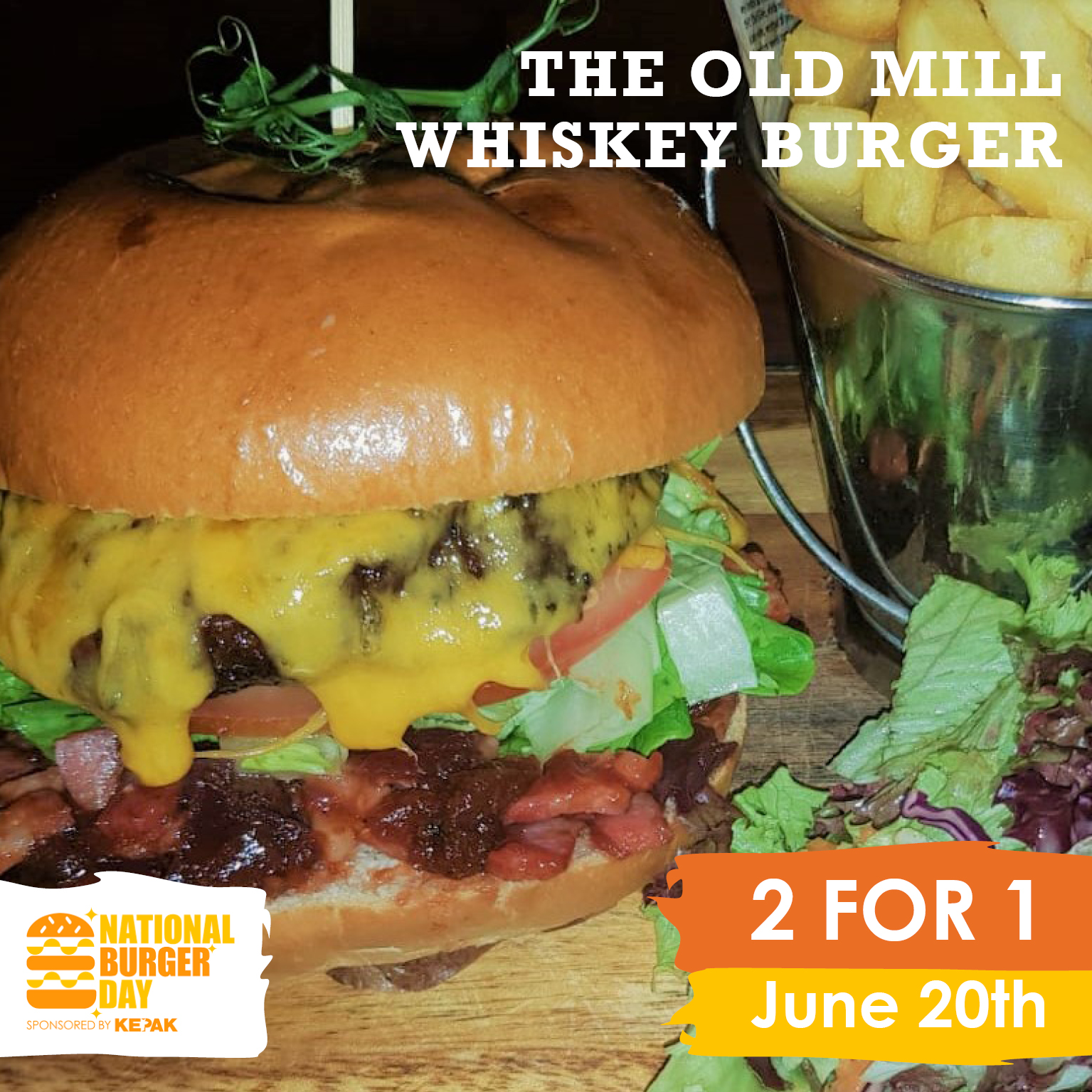Enjoy a Buy One Get One Free offer on our Whiskey Burger for National Burger Day